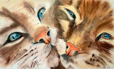 LITTLE CUDDLES Soft Pastel on watercolor paper by Artist Anna-Lisa Clarke