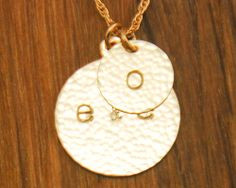 Personalized Mom Necklace - Custom Couple Initials Gold Disc Mommy Charms - 14K Filled Family Child Pendant Mother Gift. $78.00, via Etsy.