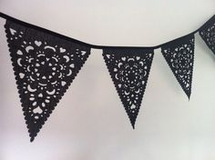 Halloween wedding garland, perfect wedding decoration black lace bunting, party decor, fabric spooky sophisticated goth