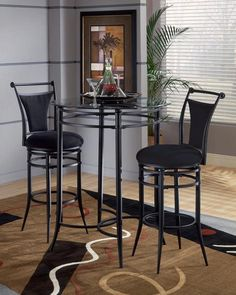 Mix-N-Match Pub Table Set (Black Finish). The Mix-N-Match Bistro Table Set is available in a Black finish. This set includes: Pub / Bistro Table 2 Coordinating Barstools Bistro Table Set, 3 Piece Bistro Set, Patio Bar Set, Pub Table Sets, Hillsdale Furniture, Dining Furniture, Cool Furniture, Furniture Sets, Furniture Online