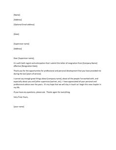 printable sample letter of resignation form more