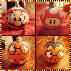 Harry Potter and Mario pumpkins painted DIY