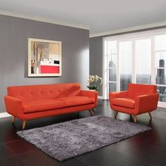Modway Engage Armchair And Sofa Set Of 2 In Atomic Red