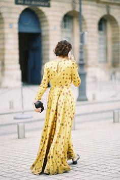 Street style: Printed maxi dress, Paris Couture Fashion Week AW 2012/13