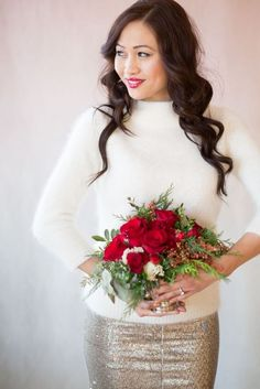 17 Bridal Looks With Sweaters For Cold Weather Weddings | HappyWedd.com
