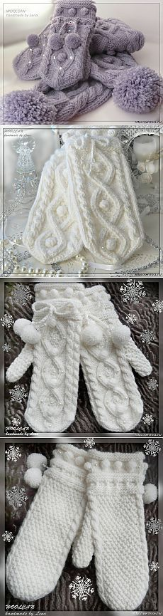 Mittens spokes a pattern * Rhombuses with rice * Mittens Pattern, Sweater Knitting Patterns, Knit Mittens, Knitting Socks, Baby Knitting, Knitted Hats, Crochet Mitts, Crochet Gloves, Knit Crochet