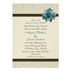 Chocolate Brown Cream And Teal Blue Flower Wedding Invitations
