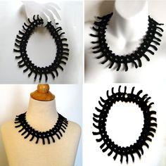 Black Crochet Statement Necklace  Steampunk Spikes by KnittingGuru, $48.00