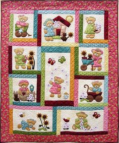 DAISY BEAR Quilt Pattern ~ Adorable Appliqué & Pieced Quilt Sewing Pattern ~ Single/Twin Bed Size Quilt ~ Kids Quilts Design