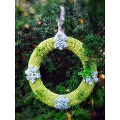 Winter Holidays Decor Hand Knit Green Wreath with Crochet Silver... ($52) ❤ liked on Polyvore featuring home, home decor, holiday decorations, green wreath, christmas holiday decorations, christmas wreath and silver christmas wreath