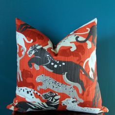 Animal Pillow Cover Blue Pillow Cover Dwell by ThePoshRobin