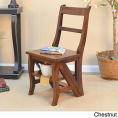 Folding Chair Brown Wood Library Step Ladder Home Office Furniture Shelf Storage for sale online