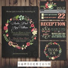 Chalkboard Wedding Invitation Set - antique - distressed - Floral - vintage - Rustic - PRINTABLE, DIY (custom made for you) digital file by TotallyInvited on Etsy