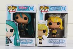 2Pcs/Lot Funko Pop Anime Hatsune Miku Action Figures Vocaloid Kagamine Rin Vinyl Figurine #37 #39 Collectable Model Doll Toys