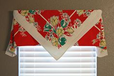 Vintage table cloth as curtain