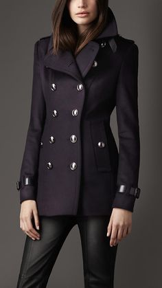 BURBERRY Navy Addiscombe Double-breasted Short Coat ...