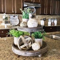 Casual Country Farmhouse Tray -  Add a little casual country to your farmhouse with this wood 2-tier tray.