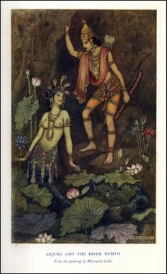 """Warwick Goble—1913, Indian Myth and Legend by Donald MacKenzie. """"Arjuna and the river nymph."""""""