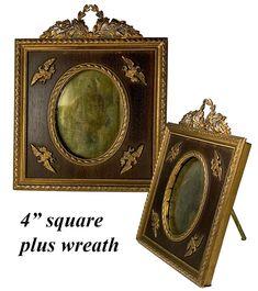 Miniature Portraits, French Empire, Antique Frames, Easel, French Antiques, Bookends, Applique, Miniatures, Clock