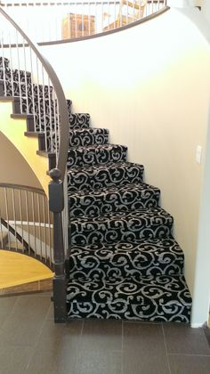 Another beautiful patterned Kane carpet stair installation by our talented insta. Another beautiful patterned Kane carpet stair installation by our talented installer Andy R. Carpet Staircase, Carpet Stair Treads, Basement Carpet, Basement Stairs, Stair Rugs, Basement Ideas, Patterned Stair Carpet, Textured Carpet, Houses