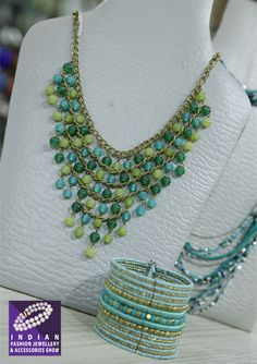 Beaded cascades accentuated with tribal dokra craft shimmer and matte finish links…at The IFJAS, 2016 (21st to 23rd July) #fashion #jewellery #tradeshow