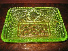 Vaseline Glass Floral Oval Pattern Candy Jam Soap Dish Uranium Yellow Tray Bowl | eBay