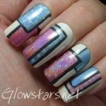 White nails with black outlined holographic color blocking, free hand nail art