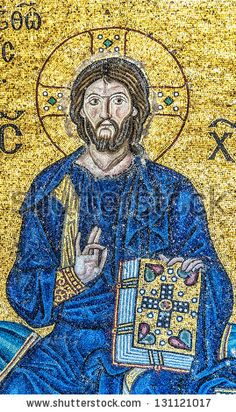 ISTANBUL, TURKEY - Jesus Christ, a Byzantine mosaic in the interior of Hagia Sophia
