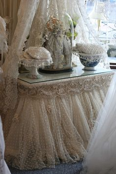 Gorgeous dotted swiss skirt idea. Great for a beautiful bed skirt.