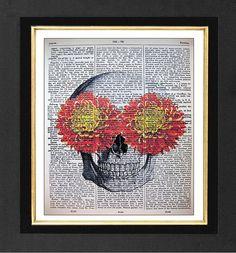 Skeleton Art Print  Orange Mums ORIGINAL ARTWORK by sherryannshop, $10.00