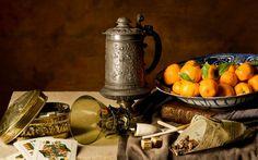 tangerines, cup, tea, still life