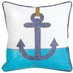 Jonathan Adler Cote D'Azure Anchor Pillow, 16 x 16