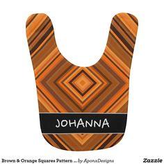 Brown & Orange Squares Pattern + Custom Name