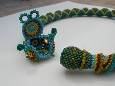 Aztec Collar with unique beaded clasp.  Cooool idea :)