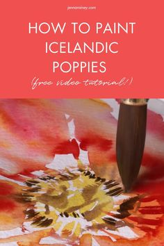 How to paint watercolor poppies tutorial. Join me in painting a big, vibrant, juicy Icelandic poppy flower! This flower is probably one of my favorites because of the bold colors and interesting textures. We'll capture its essence with lots of wet-on-wet with explosions of color. Watercolor Flowers Tutorial, Step By Step Watercolor, Watercolor Poppies, Watercolor Tutorials, Easy Watercolor, Watercolor Design, Watercolor Techniques, Painting Tutorials, Flower Tutorial
