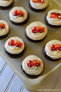 Fire Truck Cupcakes Cake Birthday Parties New Ideas Dump Truck Cakes, Truck Birthday Cakes, Birthday Cupcakes, Birthday Parties, 4th Birthday, Birthday Ideas, Fire Truck Cupcakes, Fireman Cupcakes, Starting A Food Truck
