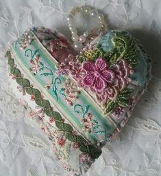Crazy Quilt Heart by Nicki Lee Seavey - Raviolee Dreams Embroidery Hearts, Ribbon Embroidery, Embroidery Patterns, Patchwork Heart, Crazy Patchwork, Crazy Quilting, Crazy Heart, Shabby Chic Fabric, Fabric Hearts