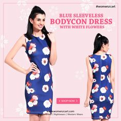 f7ed4ebdcd1 Show off your figure in one of our dazzling bodycon dresses. Shop blue  sleeveless bodycon. womenzcart.com