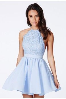 Desaree Blue Cross Back Lace Detail Puffball Mini Dress $66.48