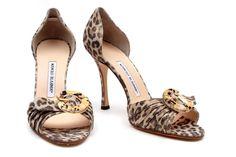 manolo blahnik leopard suede metallic heels