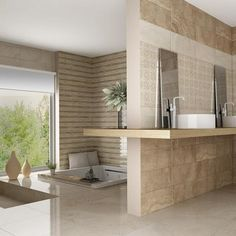 Jazmine Bathroom Floor Tiles With Sunken Bath And Double Hand Basins