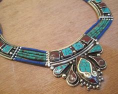 Vintage tibetian nepali handmade coral -Tourquoise-Lapis silver necklace 92 hot