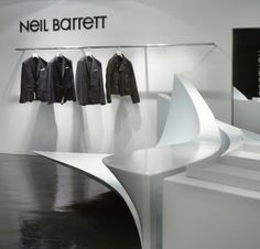 Famed architect Zaha Hadid has created five 'Shop in Shop' locations for Neil Barrett in Seoul and Hong Kong. Hadid created one large project that was then split into sixteen separate pieces so it could be shared between stores, creating modular installations that unify them.