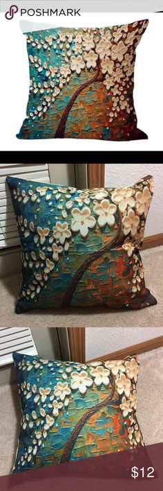 """Lovely tree pillowcase New Home Decorative pillowcase Cushion Throw Pillowcase 18"""" Vintage Decor  Cotton Linen Square  Lovely ❤Tree. New condition   Pillow not included Other"""