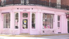 The outside of Peggy Porschen's Parlour. With a colour like this, you know this is a girly shop!