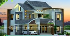 High View Builders presents a 4 bedroom modern Kerala home design in an area of 2425 square feet House Outer Design, Two Story House Design, House Outside Design, 2 Storey House Design, Village House Design, Kerala House Design, Bungalow House Design, Unique House Design, House Front Design