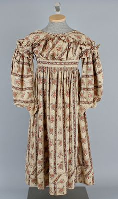By 1830, girls' dresses after the age of six were composed of full skirts and fitted bodices with large gigot sleeves. Girls' attire mimicked that of their mothers' with the exception of the pantalets. These were still visible just below the hemlines of their skirts.