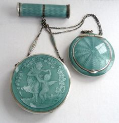 Sterling Silver Enamel Guilloche Tango Compact with Venus & Cupid Dancing