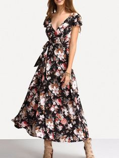 Fashion Short Sleeve V-Neck Floral Print Maxi Dresses Sexy Beach Long Backless Dress Please Use The Size Chart For A More Accurate Fit. - Neckline: V-Neck - Silhouette: A-Line - Dresses Length: Ankle-
