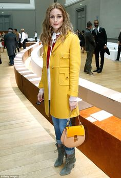 Charming in canary: Olivia Palermo made a splash in a yellow statement jacket as she attended the Chloe show as part of Paris Fashion Week Womenswear Fall/Winter 2015/2016 in  France on Sunday